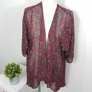 Lularoe Red Lindsay Paisley Sheer Cardigan Small
